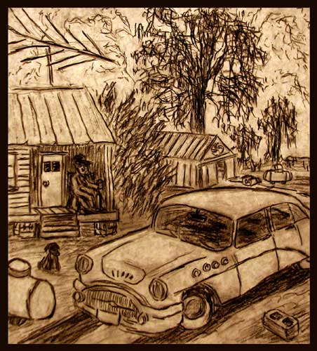 The White Car charcoal drawing