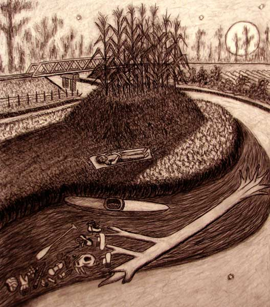 In the Shadow of the Mound charcoal drawing